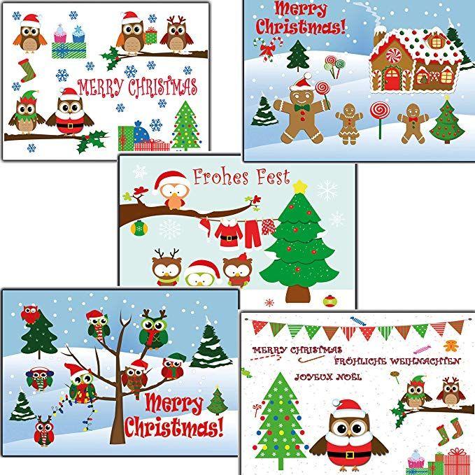 Affiliate: Eulen Eule 50 Stk Weihnachtskarten nostalgisch ...