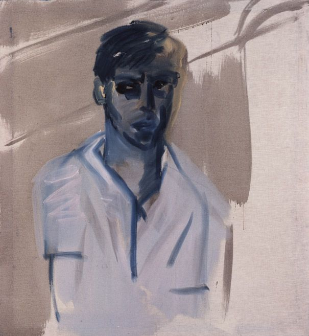 Rainer Fetting (German, b. 1949) Self with wall (Selbst mit Mauer), 1977 Dispersion on cotton, 116 x 105 cm