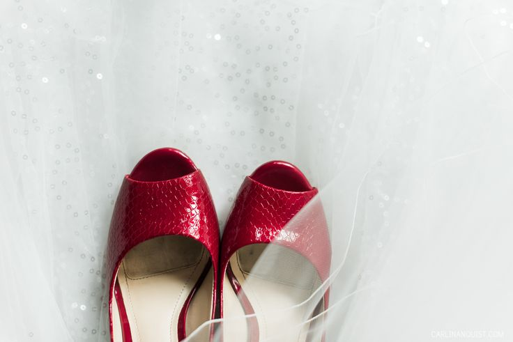Red Bridal Shoes | Calgary Winter Club Wedding Photographer