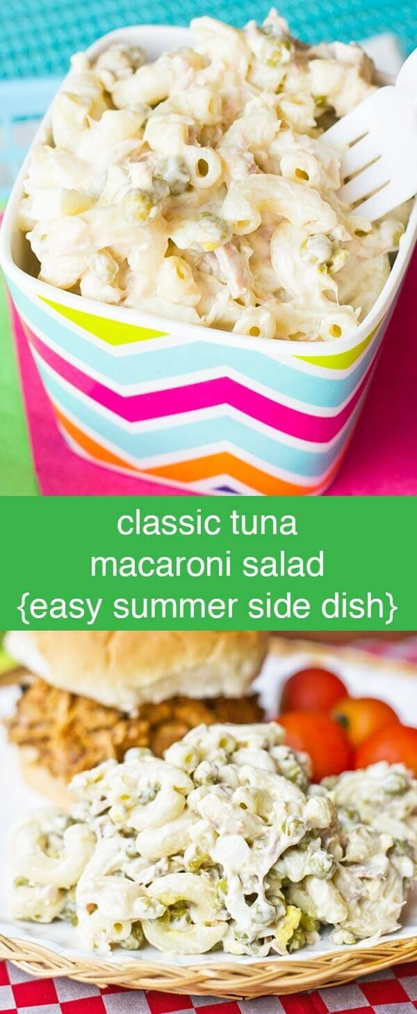 This Classic Tuna Macaroni Salad is an easy-to-prepare side dish perfect with sandwiches. A quick summer salad recipe for picnics! Classic Tuna Macaroni Salad {Easy Summer Side Dish Recipe} via @tastesoflizzyt