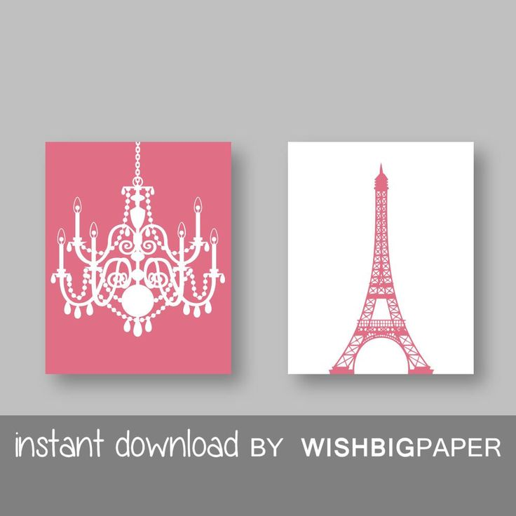 Eiffel Tower Chandelier Prints Set of Two (2)-Instant Download.Paris.French.Wall Art.Home.Decor Baby Girl Room Nursery.Girls room.Kid. Sets by WISHBIGPAPER on Etsy https://www.etsy.com/listing/228390700/eiffel-tower-chandelier-prints-set-of