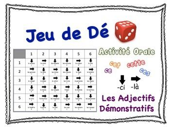 French Demonstrative Adjectives Speaking Activity for Small GroupThis fun and engaging speaking activity is a great opportunity for students to practice Demonstrative Adjectives.  It requires very little preparation time.Includes these demonstrative adjective forms: ce/cette/cesSet-Up and Play:Students can do this activity in groups of 2 or 3.