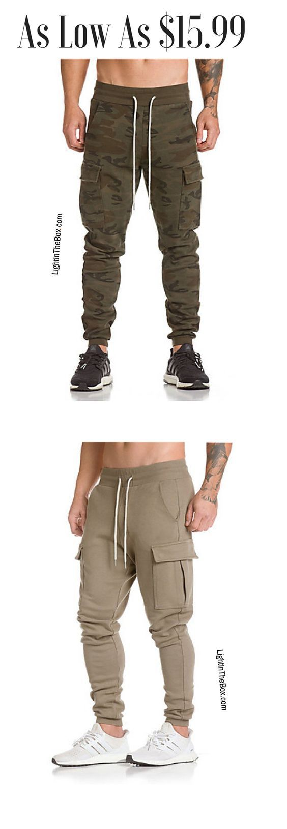 Casual sporty men pants in various colours - beige, black, grey, khaki green