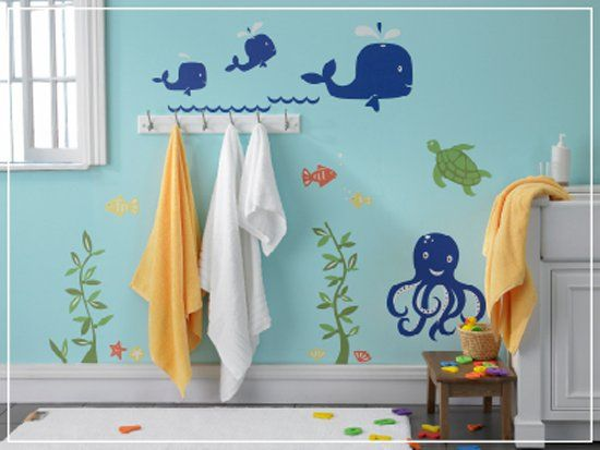 love this kids bathroom - paint the walls blue and add fish and it looks like you're under water :)