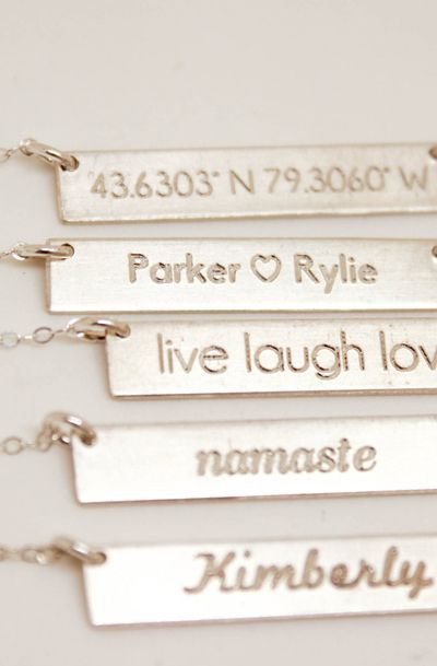 Silver Bar Name Personalized Necklace