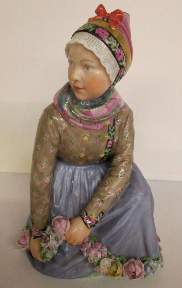 "Sweet Collectible Vintage Royal Copenhagen Over-Glaze Flower Girl-#12413-""Fanoe"""
