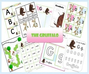 """Printables"" - Gruffalo Preschool Pack - Includes Letter Recognition/Alphabet Cards, Playdoh Letter Mats, Printing Sheets, Word Recognition Sheets, Lower Case/Upper Case Letters, Word Recognition, Adjectives, Number Recognition/Word Recognition and More..."