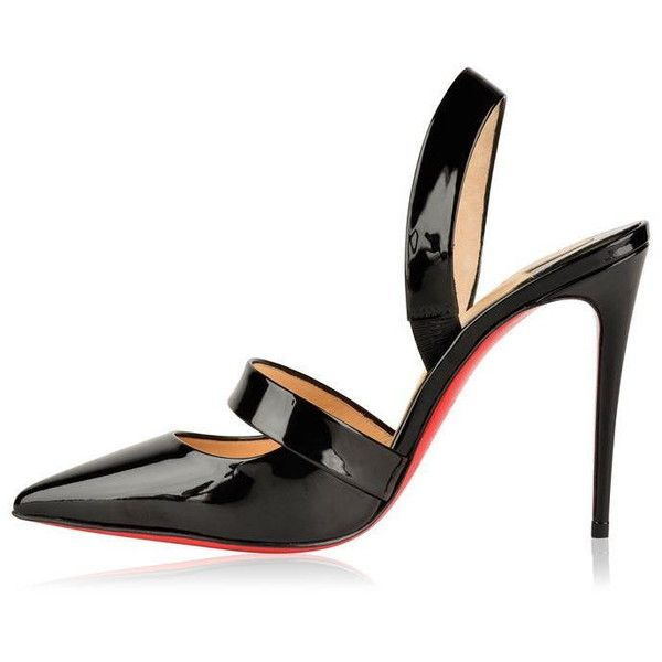 Christian Louboutin Actina Patent Heels (2.835 BRL) ❤ liked on Polyvore featuring shoes, pumps, slingback shoes, sling back pumps, high heel slingback pumps, high heeled footwear and monk-strap shoes