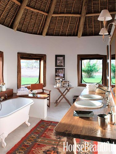 A master bathroom in Kenya. Design: Suzanne Kasler. housebeautiful.com. .