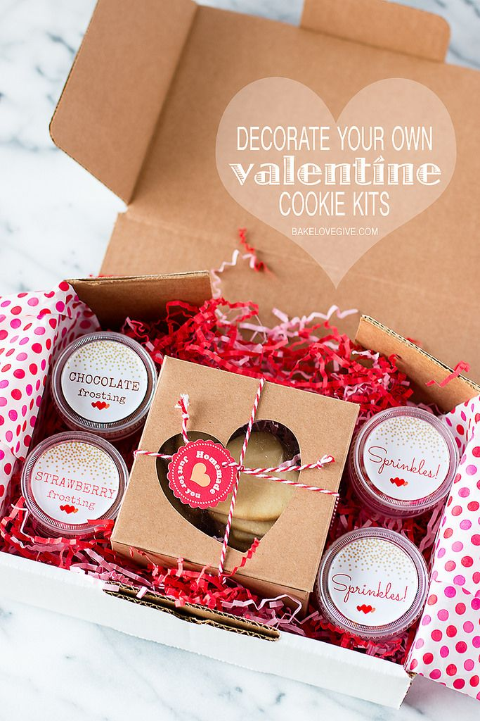 Send delicious boxes of love with these Decorate Your Own Valentine Cookie Kits