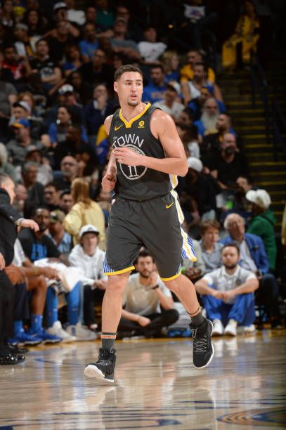 f73b59242ddc Klay Thompson of the Golden State Warriors looks on during the game against  the Oklahoma City Thunder on February 6 2018 at ORACLE Arena in Oakland.
