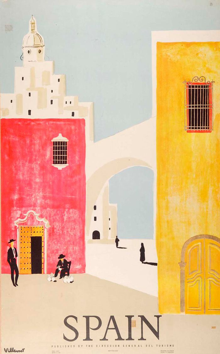 Spain travel poster in pink and gold #color