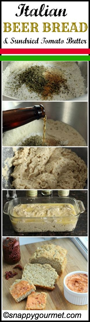 Italian Beer Bread & Sundried Tomato Butter - quick and easy (no yeast) bread! http://www.nelleandlizzy.com