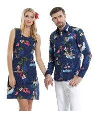 9ae70212371a53 Couple Matching Men Long Sleeve Aloha Shirt and Women Dresses in Santa Navy