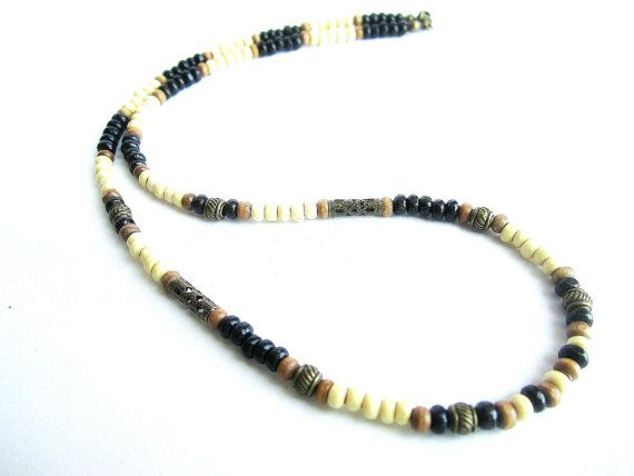 Mens wood beaded necklace ethnic necklace mens by Bravemenjewelry