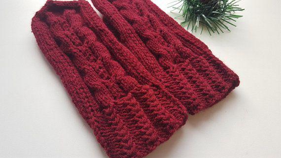 Knit mittens Mittens Hand wear Cherry Winter mittens Hand knit