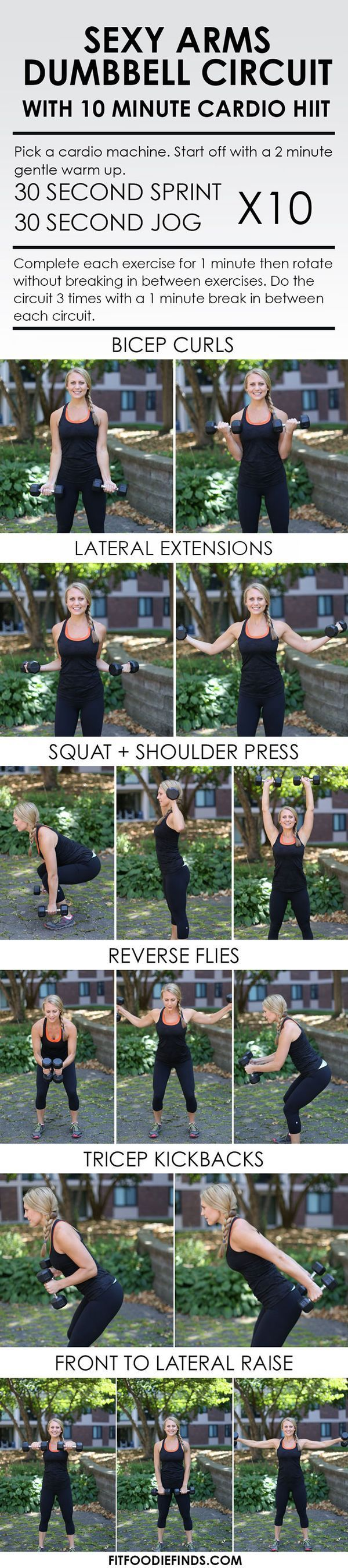 Sexy Arms Dumbbell Circuit Workout with 10 Minute Cardio HIIT #workout #fitness