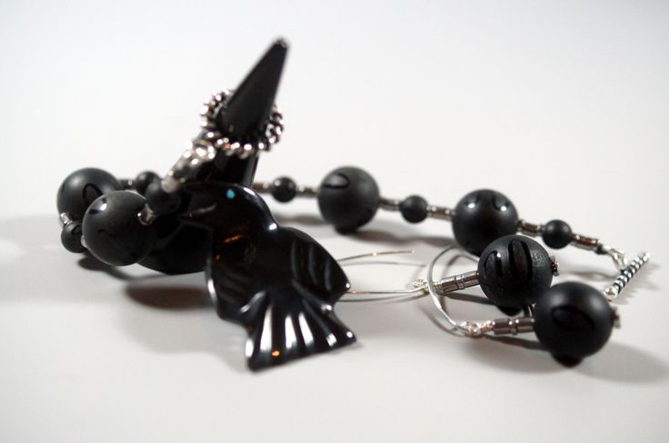 Etched Black Onyx & Sterling Silver