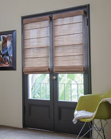 Roller Roman Shades In Zen/ Sunset 15052 On A Set Of French Doors