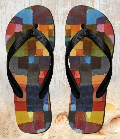 FB0579 Paul Klee Raumarchitekturen Beach Slippers Sandals Flip Flops Unisex