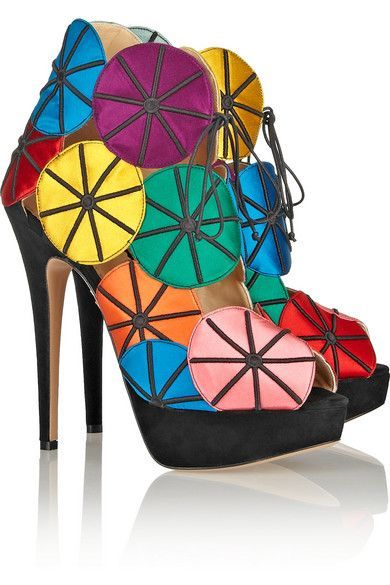 2565d97d0a78 Charlotte Olympia Charlotte Olympia Parasol embroidered satin and suede platform  sandals  CharlotteOlympiaHeels