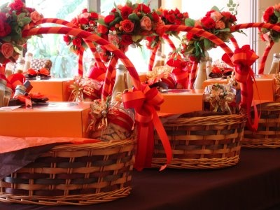Christmas gift basket decoration