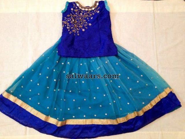 Sky Blue and Dark Blue Lehenga - Indian Dresses