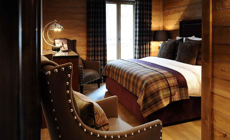An elegant yet cozy bedroom to retire for the day... Portfolio, Nicky Dobree, Interior Designer, Interior Design, Luxury Ski Chalet Design, Ski Chalet Designer, Residential Interiors, Contemporary Residential Interiors, Grand Designs, International Interior Design Awards