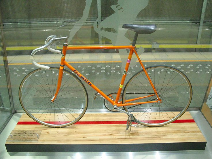 Eddy Merckxs' bike used for his worldrecord hour attempt - he won in 1972