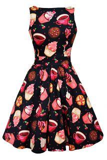 Red Rose Floral Cream Tea Dress : Lady Vintage