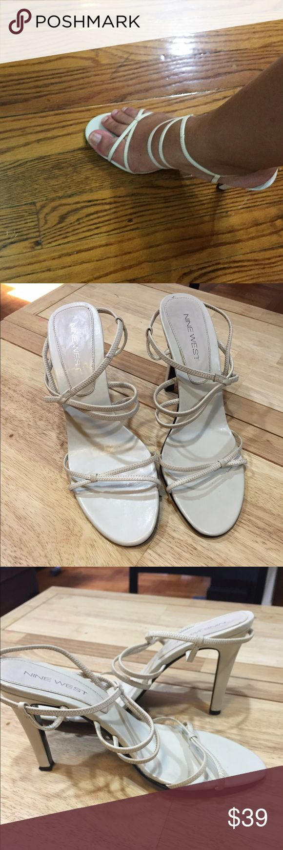 Nine West cream strappy heels Good condition Nine West cream strappy heels. These heels/sandals go with any outfit. They are a size 8 with a 4 inch heel. Unfortunately after multiple foot surgeries I can no longer wear heels Nine West Shoes Heels