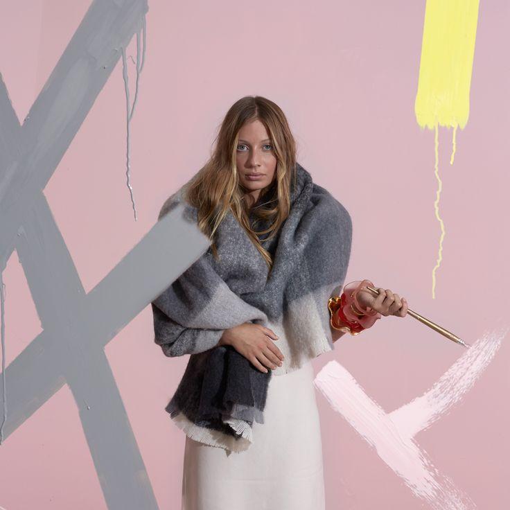 EXHALE Winter 16. Shop here: https://kateandkate.com.au/shop/alpaca-blankets/the-benny-grey-stripe/ // #exhalebykateandkate #blanket #interior #inspo #design #pastel #minimalist #lounge #bedroom #decor #home #house #blanket #throw #design #fabric #photoshoot #alpaca