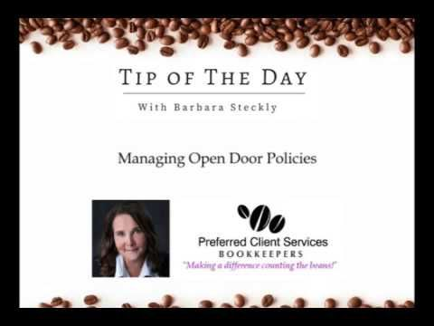 "Business Tip of The Day #23 - Managing Open Door Policies.  As the supervisor, you pride yourself on being, personable, accommodating, and accessible. But does your ""open door"" policy have you closing down the office in the late hours of the night?... LET ME ANSWER YOUR BIGGEST QUESTIONS ABOUT BUSINESS AND BOOKKEEPING:  ▶︎ http://www.preferredclientservices.ca/"