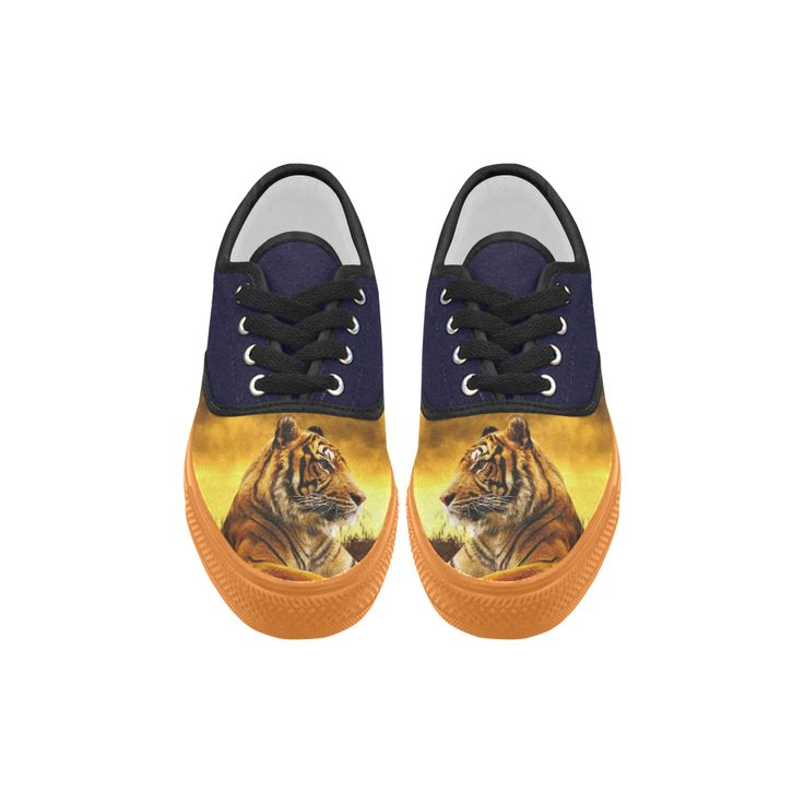 Tiger and Sunset Aries Canvas Platform Men Shoes
