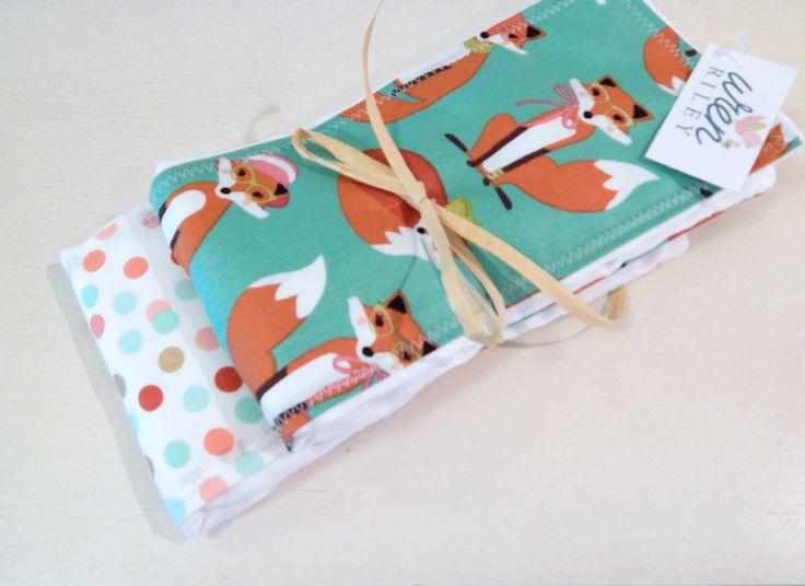 Fabulous Fox in Glasses Baby Burp Cloth 2 Piece Set
