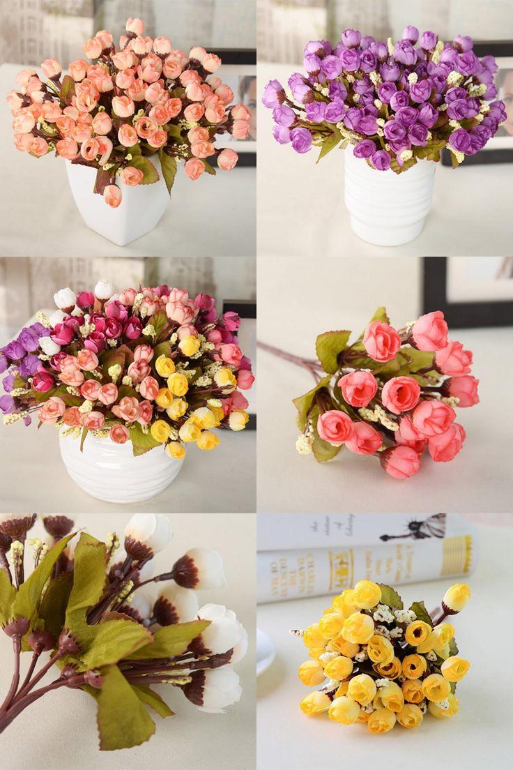 [Visit to Buy] Artificial Red Rose Flowers 15 Flower Heads Camellia Magnolia Floral Wedding Arrangement Bouquet Decor LM76 Hot #Advertisement