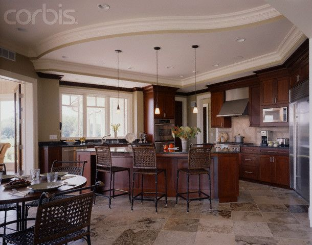 Porcelain Tile Plank Floors With Cherry Cabinets