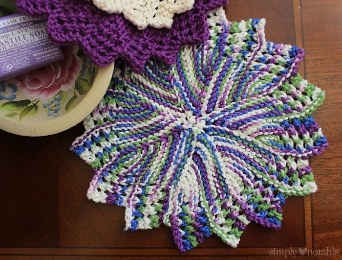 Knitted Lacey Round Dishcloth Knitting Pattern ...