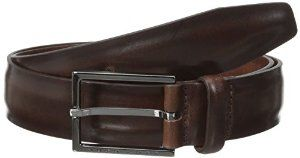 Hugo Boss men's cow leather belt. Simple& classic. Also, its dark brown color matches the shoes' color.