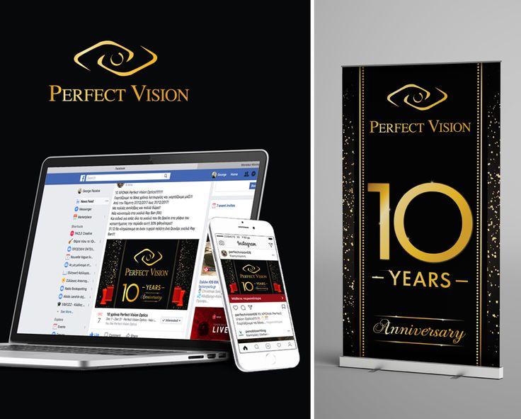 PAZLE Creative Σχεδίαση και ανάπτυξη καμπάνιας (facebook, instagram, έντυπο υλικό) για τα 10 χρόνια λειτουργίας του καταστήματος οπτικών Perfect Vision Optics.  Μια συνεργασία της PAZLE Creative με την To Infinity Digital Marketing.