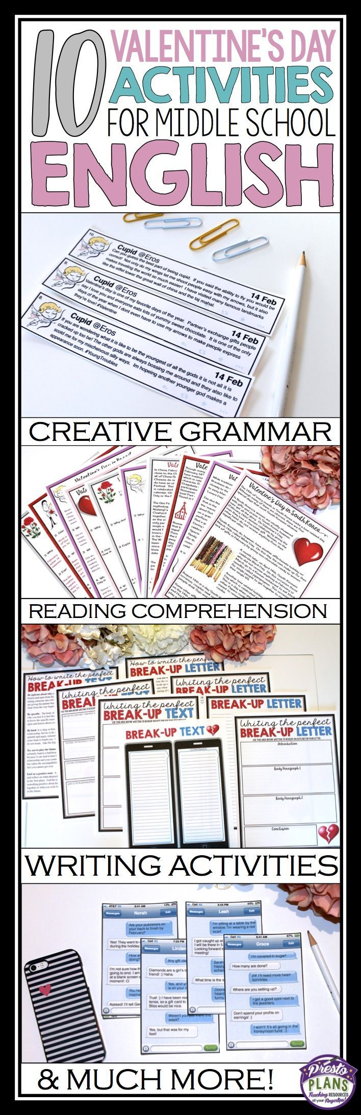 I love finding creative ways to bring the holidays into the classroom.  Here are my top 10 favorite Valentine's Day inspired activities to use with middle school English students!  The activities include grammar, reading comprehension, parts of speech, writing, idioms and much more!