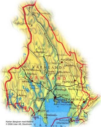 map of Varmland Sweden, including Karlstad --- a lot of my family, both maternal and paternal, came from Värmland