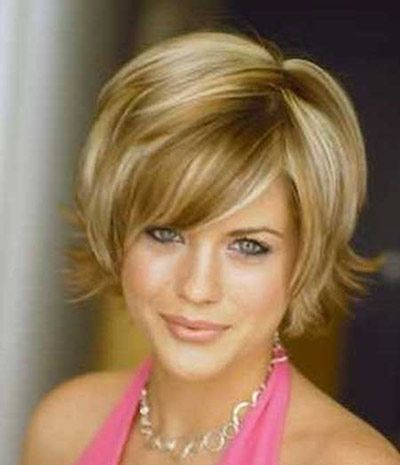 A bob style haircut with the ends that flip out away from the face with bangs: