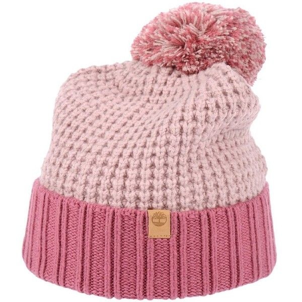 Timberland Hat ($38) ❤ liked on Polyvore featuring accessories, hats, pink, cotton logo hat, cotton beanie hats, cotton beanie, pink hat and timberland hat