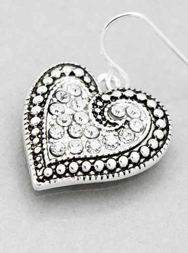 """Antique Heart Earrings from sheerFAB.com ANTIQUE HEART EARRINGS $6.95  Dangle these gorgeous Rhinestone Antique Heart Earrings and get the attention you deserve.  - Color : ANTIQUE SILVER-CLEAR - Size : Length: 0.75"""""""