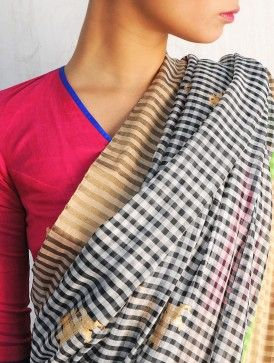 Yali Black-White Chanderi Handwoven Saree By Raw Mango