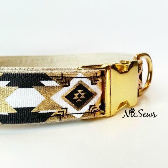 Gold Dog Collar Fancy dog collar Diamond Geometric by NicSews