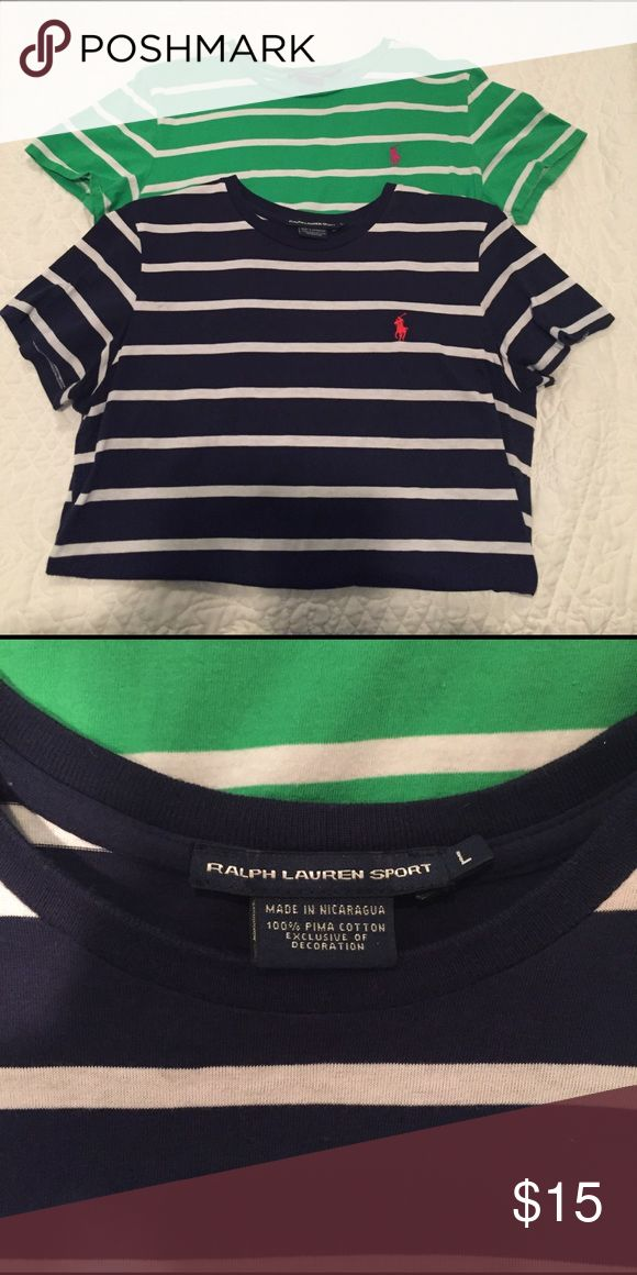 Set of 2 Ralph Lauren Sport cotton Tees Navy blue short sleeve and lime green shirt sleeve . Both have been worn once . Size Large . I'm a size 8/10 with a 38C busy and they have a comfortable loose fit . Polo by Ralph Lauren Tops Tees - Short Sleeve