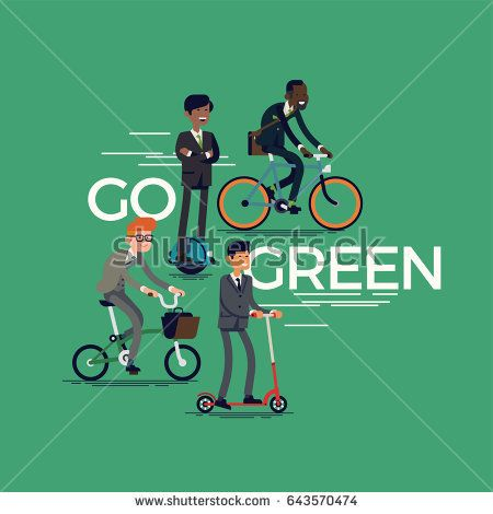 Cool vector concept design on 'Go Green' with group of business men in formal suits riding bicycles, kick scooter and electric self-balancing unicycle