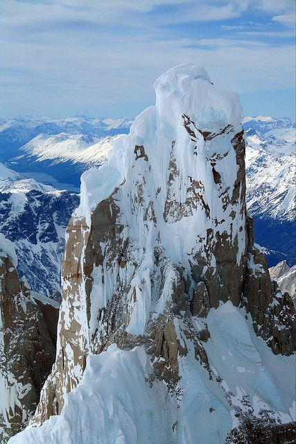 View from the top of Cerro Torre in Santa Cruz, Argentina